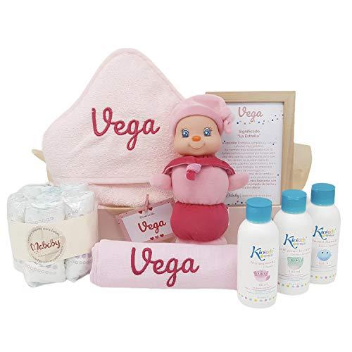 MabyBox My Gusy | Canastilla bebé | Cesta de Regalo Recién Nacido Personalizada | Set regalo Recién Nacido…(Rosa)