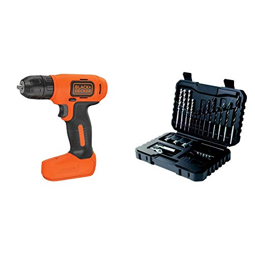 BLACK+DECKER 7.2 V Cordless Compact Cordless Drill Power Tool, BDCD8-GB with BLACK+DECKER Drilling and Screwdriver Bit Set - 32 Piece