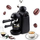 ALUS- Espresso Machine, 5Bar Espresso Coffee Maker, Espresso And Cappuccino Machine With Milk Frother, Espresso Maker With Steamer, Black