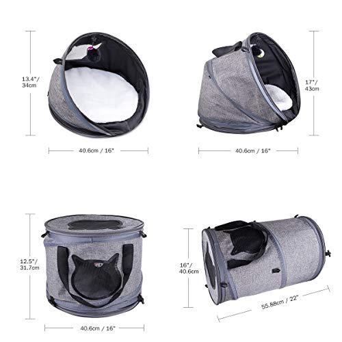 3in1ペットトンネルキャリーベッドハウス、多機能折りたたみ式、持ち運びに便利、通気性小動物旅行用グルーミンググローブ付き屋外旅行