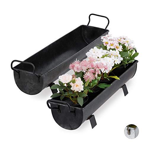 Relaxdays Blumenkasten Jardinera con canalón, 2 Unidades, para jardín y Interior, Aspecto Vintage, cinc, bandejas de Metal para Plantar, Antracita