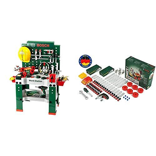 Theo Klein 8485 Banco de Trabajo, 150 Piezas, con Destornillador eléctrico, Set...
