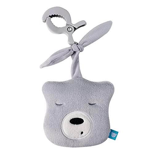 """myHummy Baby Einschlafhilfe Geräusche Bär """"mini"""" hellgrau mit Klammer   Herzschlag und weißes Rauschen zur Beruhigung   Automatische Abschaltung   Sleep Aid White Noise Sound Bear for Babys"""