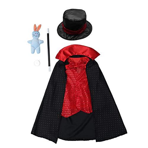 NUOBESTY Disfraz de mago para Halloween para niños, niñas y niños.