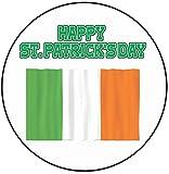 AK Giftshop - Decoración para Tarta de San Patricio, 20 cm, círculo, Bandera de Irlanda de Irlanda, Feliz día de San Patricio