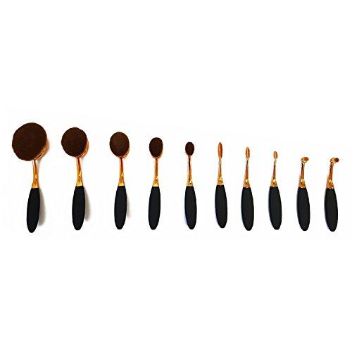 Fdvip haute qualité pro super doux ovale Pinceaux Maquillage 10 pcs Ensemble sans défaut Contour Fond de teint technique de mémoire tampon