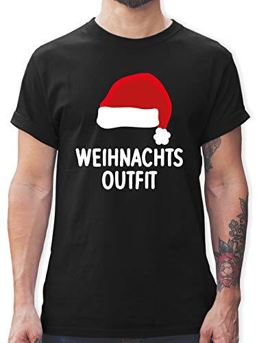 Weihnachten & Silvester Geschenke Party Deko - Weihnachtsoutfit mit Weihnachtsmütze - XXL - Schwarz - T-Shirt - L190 - Tshirt Herren und Männer T-Shirts