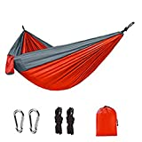 Greatangle-UK Hamacas portátiles de paracaídas Ligeras para Exteriores para Senderismo, Viajes, mochilero, Camping, Hamaca 270 * 140 cm Naranja + Gris 270 * 140 cm