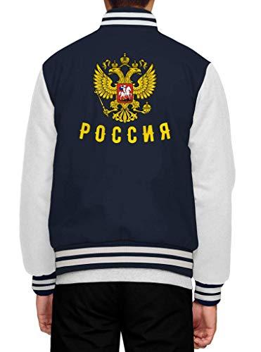 Shirt Happenz Russland Cyrillic Russia Rossija Russe Moskau Collegejacke Herren Jacke Baseballjacke, Größe:S, Farbe:Dunkelblau Weiß JH043