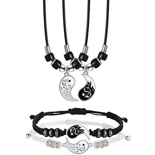Stainless Steel Yin Yang Pendant Necklace and Bracelet Set, 2 Pieces Dragon Yin Yang Adjustable Cord Bracelets, 2 Pieces Dragon Yin Yang Pendant Necklace Chains for Friendship Boyfriend Girlfriend