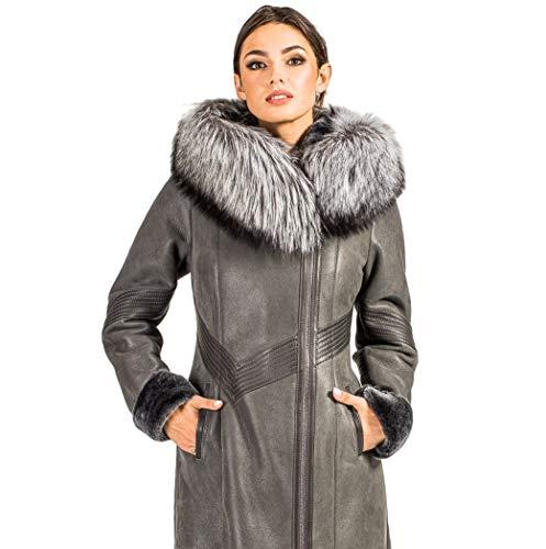 Hollert Lammfelljacke Salome Kurzmantel Winterjacke mit Kapuze Grau echt Merino Schaffell kuschelig warm Größe S