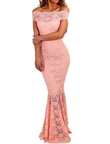 MAX MALL Damen Schulterfrei Party Kleid Fishtail Spitzen Brautjungfer Langes Abendkleid (M, Rosa)