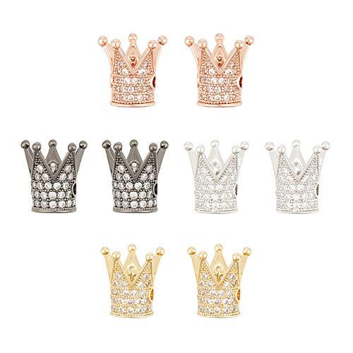 NBEADS 8 cuentas de corona de circonita, cuentas de corona de rey de latón micro pavé cúbico, abalorios de corona para pulseras, collares y pendientes para hacer joyas
