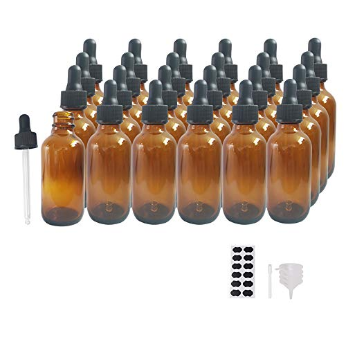 BPFY 24 Pack 2 oz Amber Boston Glass Bottle with Droppers, Funnel, Chalk Labels, Pen, Tincture Bottles, Glass Dropper Bottles for Homemade Vanilla Extract, Essential Oils, Perfumes