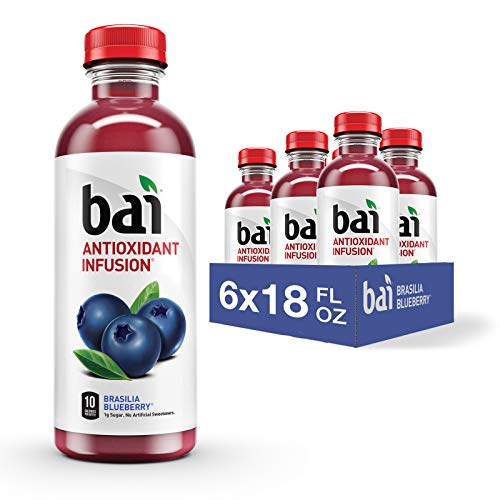 Bai Flavored Water Brasilia Blueberry Antioxidant Infused Drinks 18 Fluid Ounce Bottles 6 Count