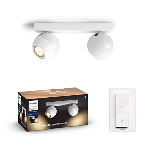 Philips Hue White Amb. LED 2-er Spotleuchte Buckram inkl. Dimmschalter, weiß, dimmbar, alle Weißschattierungen, steuerbar via App, kompatibel mit Amazon Alexa (Echo, Echo Dot)