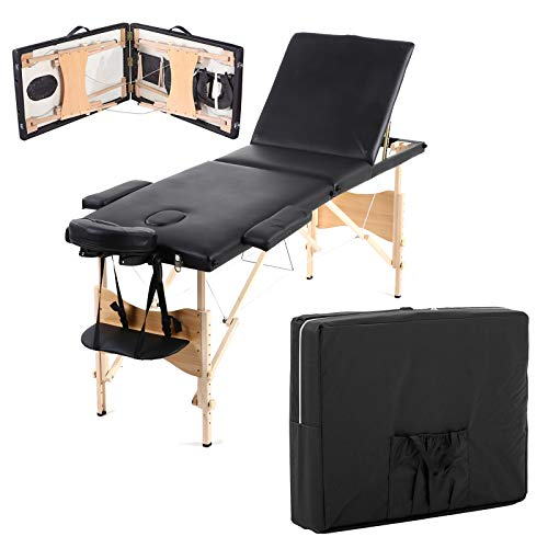 Luxury Portable Lightweight Massage Table Beauty Couch Therapy Bed Folded 3 Section Wooden Frame Black with Headrest Arm Support Carrying Bag Multilayer Foam