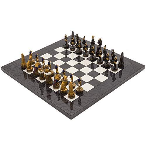 The Regency Chess Company Ltd The ANTICO EGITTO DIPINTO A MANO TEMA LUSSO CARBONE Set di scacchi da ITALFAMA
