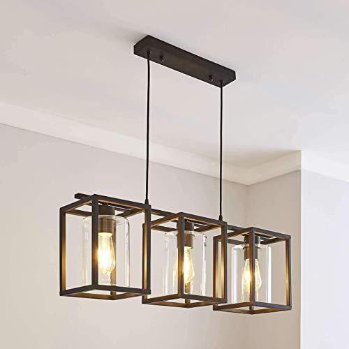 Saint Mossi Lámpara de techo de 3 luces Lámpara de techo negra contemporánea Pantalla de cristal