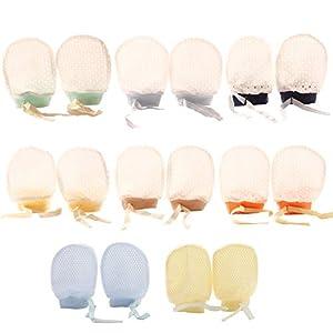 VEGCOO ベビー ミトン 手袋 8組セット 赤ちゃん ミトン 新生児 可愛い手袋 綿 通気性 調整可能 出産お祝い ギフト (B)