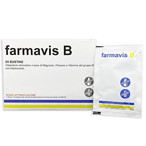 Farmavis B, MAGNESIO E POTASSIO con COMPLESSO VITAMINE B, più energia contro stanchezza e spossatezza| 24 bustine solubili, gusto arancia, potassio e magnesio con B1, B2, B3, B5, B6, B12, Acido Folico