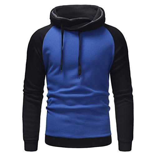 XWLY Sweatshirt Herren Slim Fit Mode Pullover Patchwork Langarm Herren Hoodie Frühling Herbst Baumwollmischung Atmungsaktives Lässiges Jugend Sweatshirt Blue. 3XL
