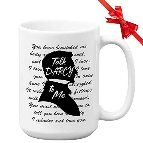 Buchliebhaber Tasse sprechen Darcy zu mir Bücherwurm Leser Bibliothekar Autor Autor Roman Roman Jane Austen Stolz und Vorurteil literarisches Zitat