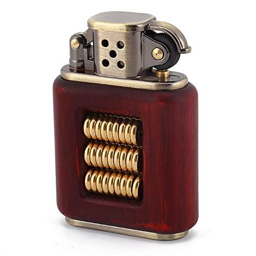 CYzpf Sándalo Vintage Mechero de Queroseno Muela Abrasiva Encendedores Reutilizables a Prueba de Viento para Regalos Hombres Papá Marido (Sin Combustible),Red