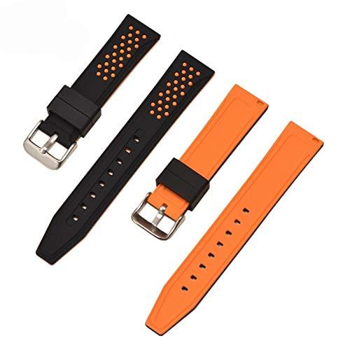 ZHONGGOZZ 20 mm 22 mm 24 mm 26mm Sport Silicone Strap para Samsung Galaxy Watch Active 42mm 46mm para Engranaje S2 S3 S3 SMAKFIT Pulsera de Goma Banda (Band Color : Black Orange, Band Width : 26mm)
