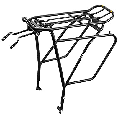 """Ibera Bike Rack - Bicycle Touring Carrier Plus+ for Disc Brake Mount, Frame-Mounted for Heavier Top & Side Loads, Height Adjustable for 26""""-29"""" Frames"""
