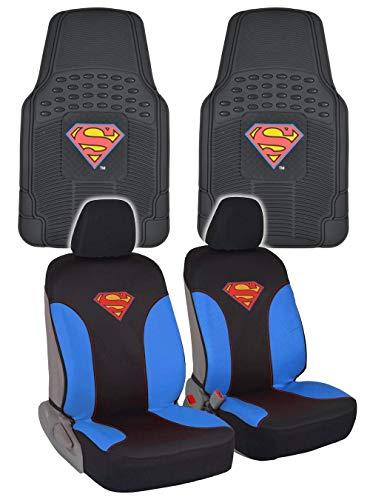 BDK Superman Car Seat Covers & Rubber Floor Mats Gift Pack - Combo Set (Superman)