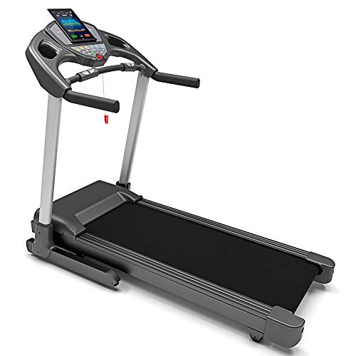 Bluefin Fitness Tapis de Course Haute Intensité Kick de Silencieux | 20 km/h + 7 ch + Inclinaison à 15% | Appli + Haut-Parleurs Bluetooth + Capteurs de Rythme Cardiaque (Noir)