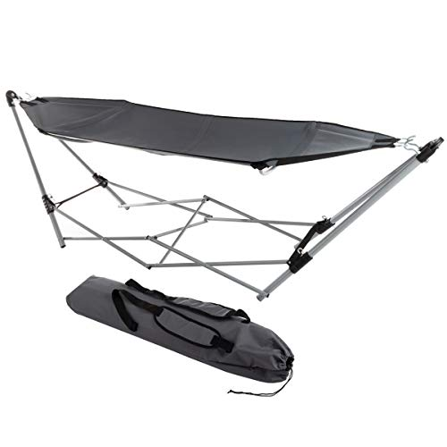 Lavish Home 80-OUTHAM-Gry Portable Hammock with Stand, Gray