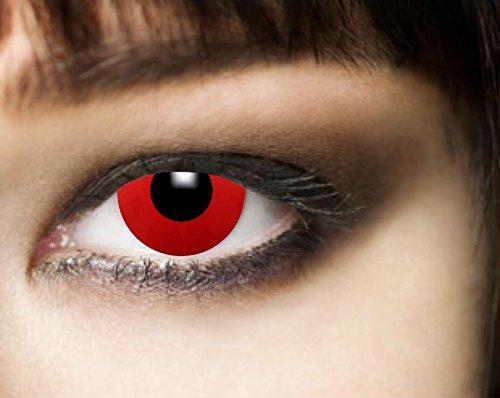 3-Monatslinsen, RED DEVIL, Halloween Kontaktlinsen, PAAR, Funlinsen, Vampir, Zombie, rot