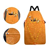 HELLOGIRL Leather Welding Work Apron with Pockets Flame Retardant Apron Waterproof Leather Apron for...