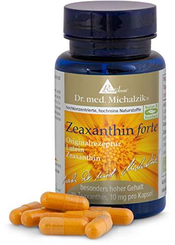 Zeaxanthin forte 10mg und 25mg reines Luetin - nach Dr. med. Michalzik - 60 Kapseln je 430mg reines Tagetes patula-Extrakt - von Biotikon®