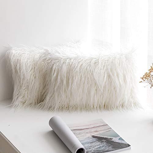 MIULEE Juego de 2 Funda de Almohada Cojines de Piel Decorativos Cuadrados y Suaves Cojines PeloPara la Decoración del Hogar Sofá Cama del12x20 Inch 30 x 50 cm Blanco