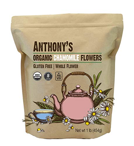 Anthony's Organic Chamomile Flowers, 1 lb, Whole, Loose Leaf, Gluten Free, Non GMO, Non Irradiated
