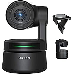 OBSBOT Tiny Webcam Per PC, con Built-in Audio, Full HD 1080p, AI Tracking Zoom Power Gesture Selfie, Ai videocamera 2 assi Gimbal, Compatibile con Windows e Mac-Nero