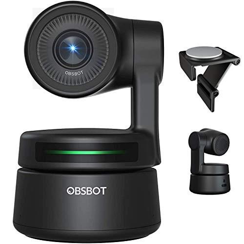 OBSBOT Tiny AI-Powered PTZ Webcam Ai Kamera 2-Achsen Gimbal Full HD 1080p AI-Tracking-Zoom Power Gesture Selfie Videokamera für Online Class Meeting Live-Streaming & - Schwarz