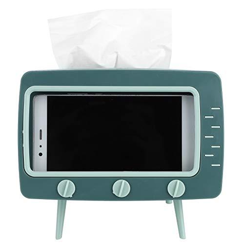 wxf Dispensador De Caja De Pañuelos Retro Almacenamiento De Papel De Escritorio con Soporte para Teléfono Móvil Forma De TV