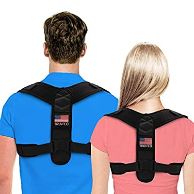 Posture Corrector For Men And Women - USA Patented Design - Adjustable Upper Back Brace For Clavicle Support and Providing Pain Relief From Neck, Back and Shoulder (Universal) by Truweo