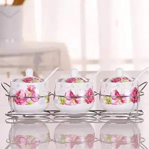 Kruidenpot van keramiek voor de Europese keuken huishouden kruiden van keramiek kruidenblik kan fles set zout kostuum 3-delig