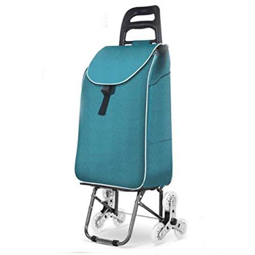 WYZXR Einkaufswagen,wasserdichter zusammenklappbarer Einkaufswagen auf Rädern mit Abnehmbarer Tasche und faltbarem Design,leicht und tragbar,maximale Kapazität 40 kg,Klimaanlage drücken/ziehen
