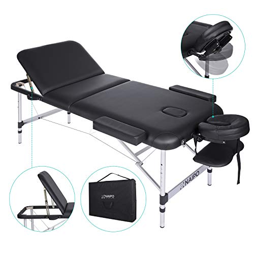 Naipo Tables de Massage Lit Cosmétique Pliante Aluminium Professionnel Portable Ergonomique Table...