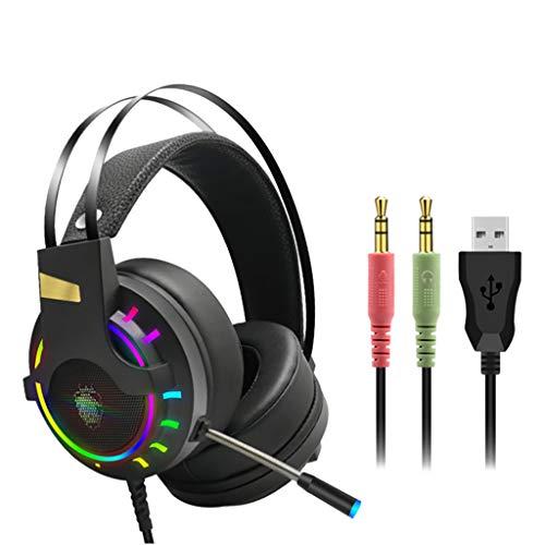 Marxways 2020 Neues Gaming Headset 3,5-mm-Over-Ear-Stereo-Gaming-Kopfhörer-LED-Licht, Bass Surround Premium-Mikrofon mit Rauschunterdrückung und N-Switch für PS4, PC, Xbox