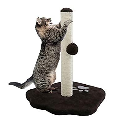 CUPETS Cat Scratching Post, Natural Sisal Pole with Hanging Toy