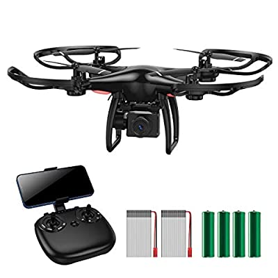 XZOLMO RC Drone with 720P 90° FOV Camera, Electrically 45°Adjustable by Controller, WiFi Quadcopter with Headless Mode, Black