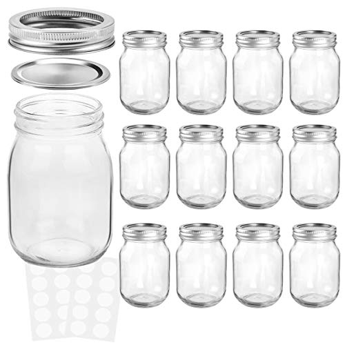 KAMOTA Mason Jars 12 oz With Regular Lids and Bands, Ideal for Jam, Honey, Wedding Favors, Shower Favors, Baby Foods, DIY Magnetic Spice Jars, 12 PACK, 20 Whiteboard Labels Included