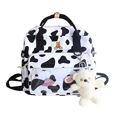 Picapoo Mochila de gran capacidad con estampado de vaca, multipropósito, bolsa de hombro salvaje